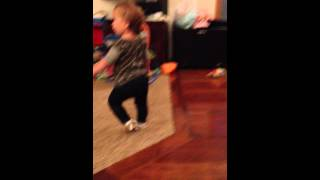 Toddler imitating how pregnant mom walks