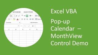 Excel Pop-up Calendar #1 MonthView Control - Demo (VBA)