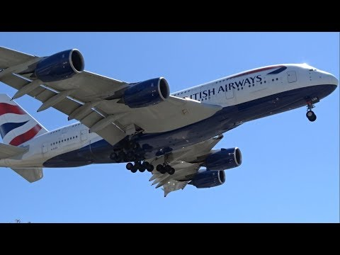 British Airways Airbus A380-800 [G-XLEA] landing at Los Angeles (LAX/KLAX)
