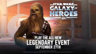 Play the all-new Legendary Event, featuring Chewbacca, on September 27th in Star Wars: Galaxy of Heroes!