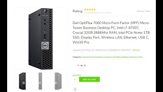 Dell OptiPlex 7060 Micro Form Factor (MFF) Micro-Tower Business Desktop PC, Intel i7-8700T