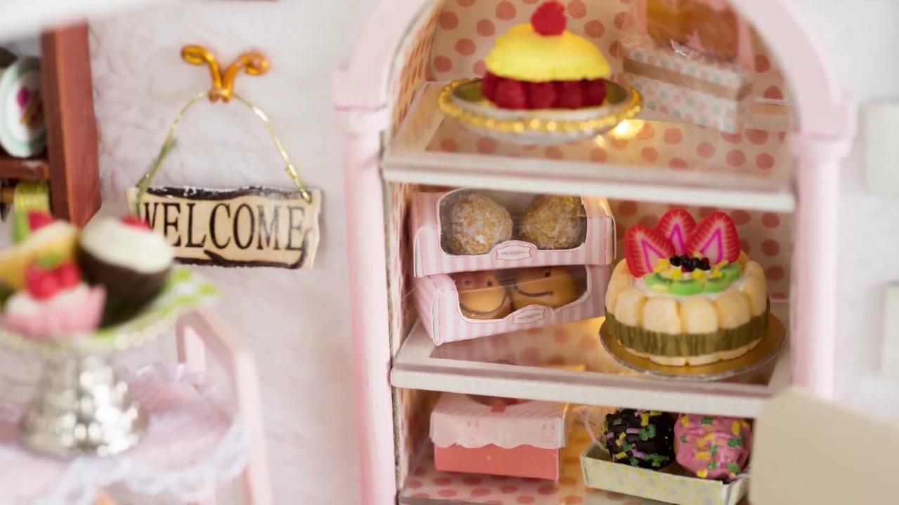 Diy Dollhouse Kit Cake Shop 11 11 Gearbest Youtube