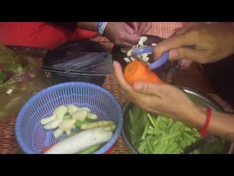 Food in Asia, Making vegetable pickle, spicy sauce, ginger sauce to eat with rice and chicken