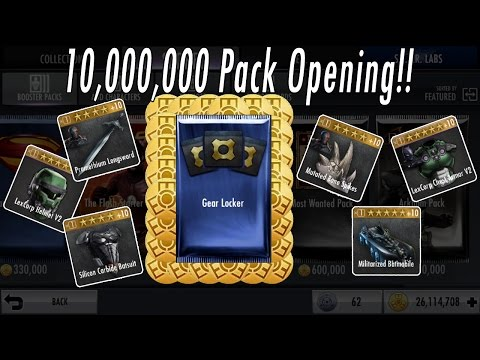 OPENING 10 MILLION POWER CREDITS/COINS OF GEAR LOCKER PACKS –BUYING/SHOWING ALL INJUSTICE GEAR CARDS