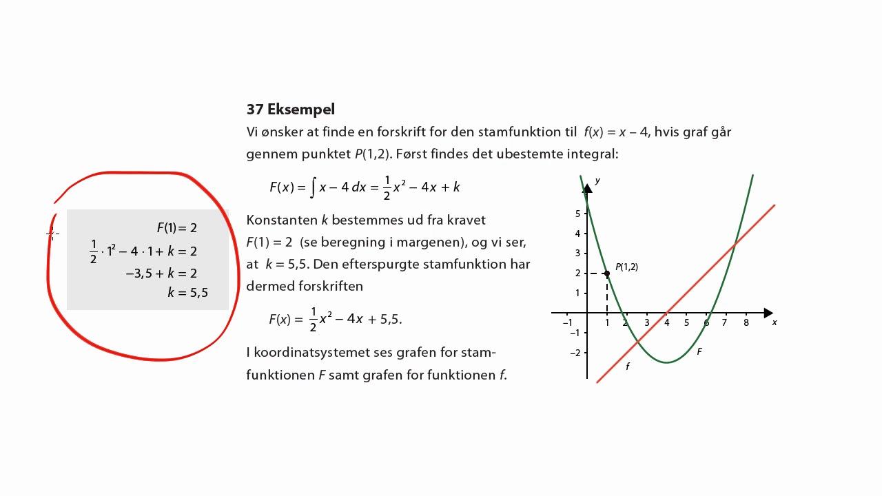 Eks. 37: Bestemmelse af integrationskonstanten