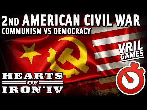 Hearts of Iron 4 | American Civil War | Communism vs Democracy Timelapse