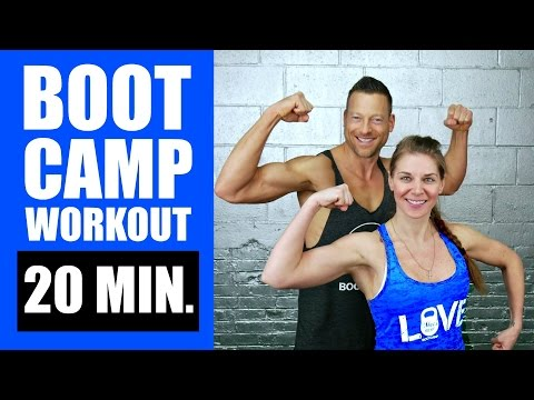 20 MINUTE BOOTCAMP WORKOUT WITH KETTLEBELL, CARDIO, ABS | Fat Burning Boot Camp Workout Routine 2