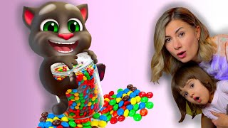 Мой Говорящий Том 2 в РЕАЛЬНОЙ ЖИЗНИ | Арина и Котик Том играют в игру конфеты вредные сладости