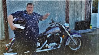Thunderstorms destroy my motorcycle ride (Curt is back working in the shop)