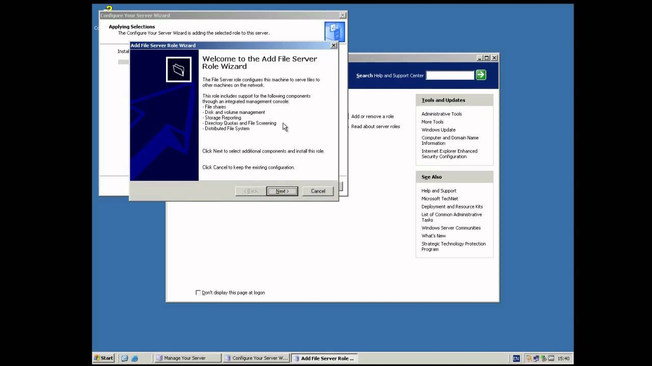How to setup up file shares in Windows Server 20