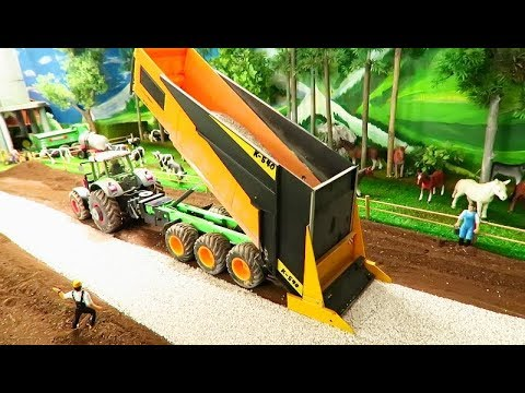 Rc Tractor & Farm Equipment Action At Construction Site -  Heavy Machinery At Work