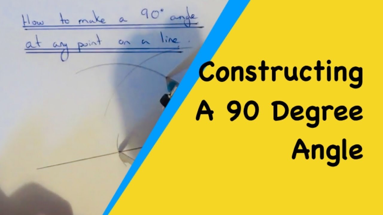 how to draw a 90 degree angle right angle at a point on a line without a protractor