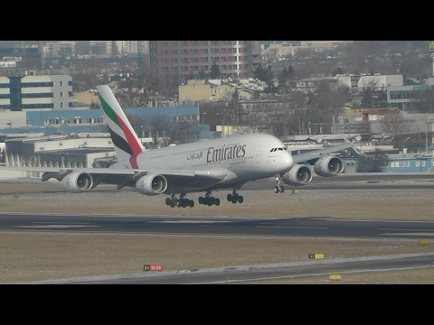 Emirates Airbus A380 first time in Warsaw. Landing and takeoff.