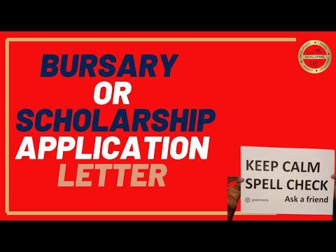 Bursary, Scholarship Application Letter