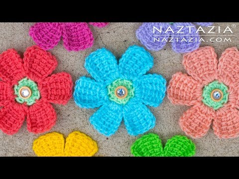 How to Crochet Simple Tunisian Flower - Flor Flores Flowers by Naztazia