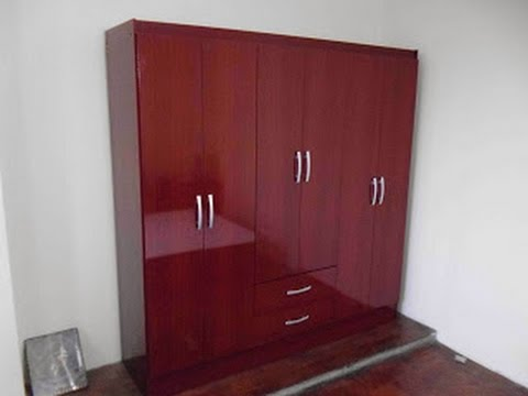 Ropero 6 puertas 2 cajones color chocolate armado youtube for Armado de closet de melamina
