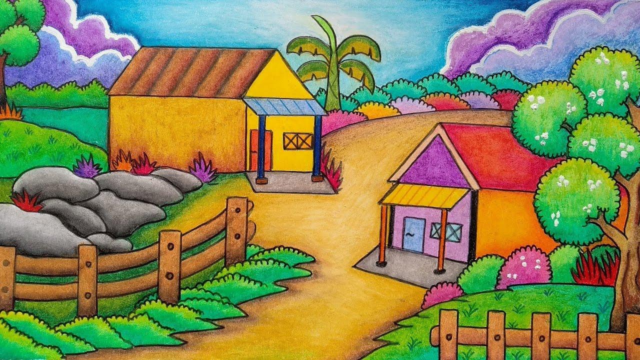 Cara Menggambar Dan Mewarnai Pemandangan Alam Pedesaan Menggambar Pemandangan Rumah Youtube