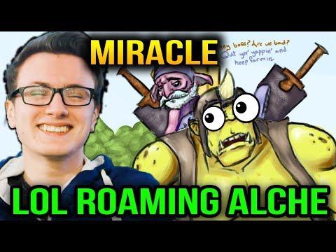 Miracle vs Alchemist Roaming DOTA WTF Comeback