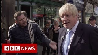 Boris Johnson heckled: 'You should be in Brussels; you're in Morley' - BBC News