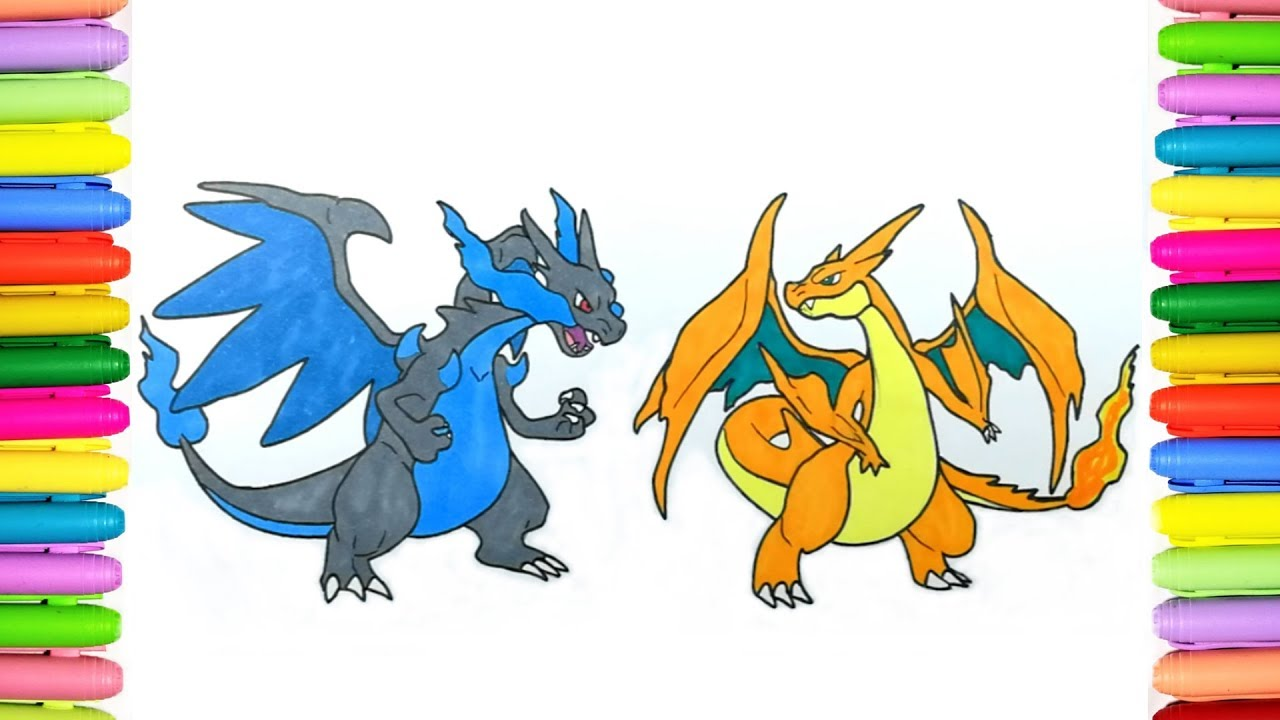 Pokemon Coloring Pages Mega Charizard X And Y Youtube