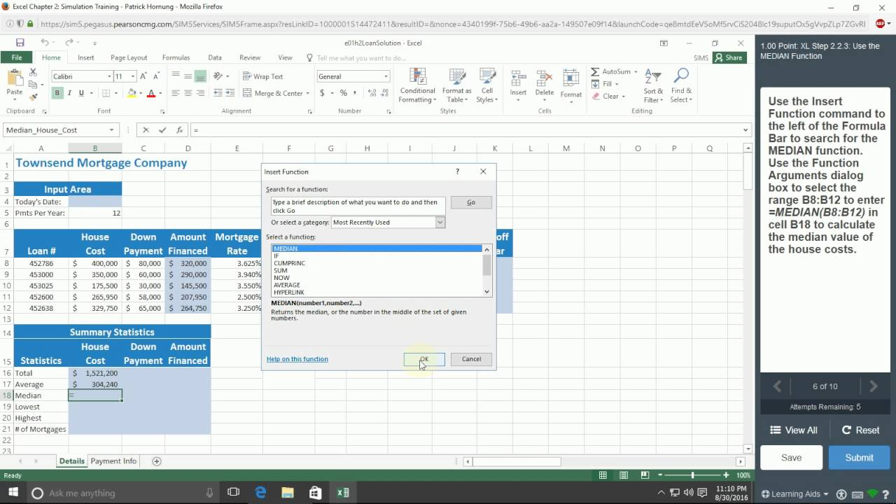 Excel 2016 Chapter 2 Simulation Training - MyITLab