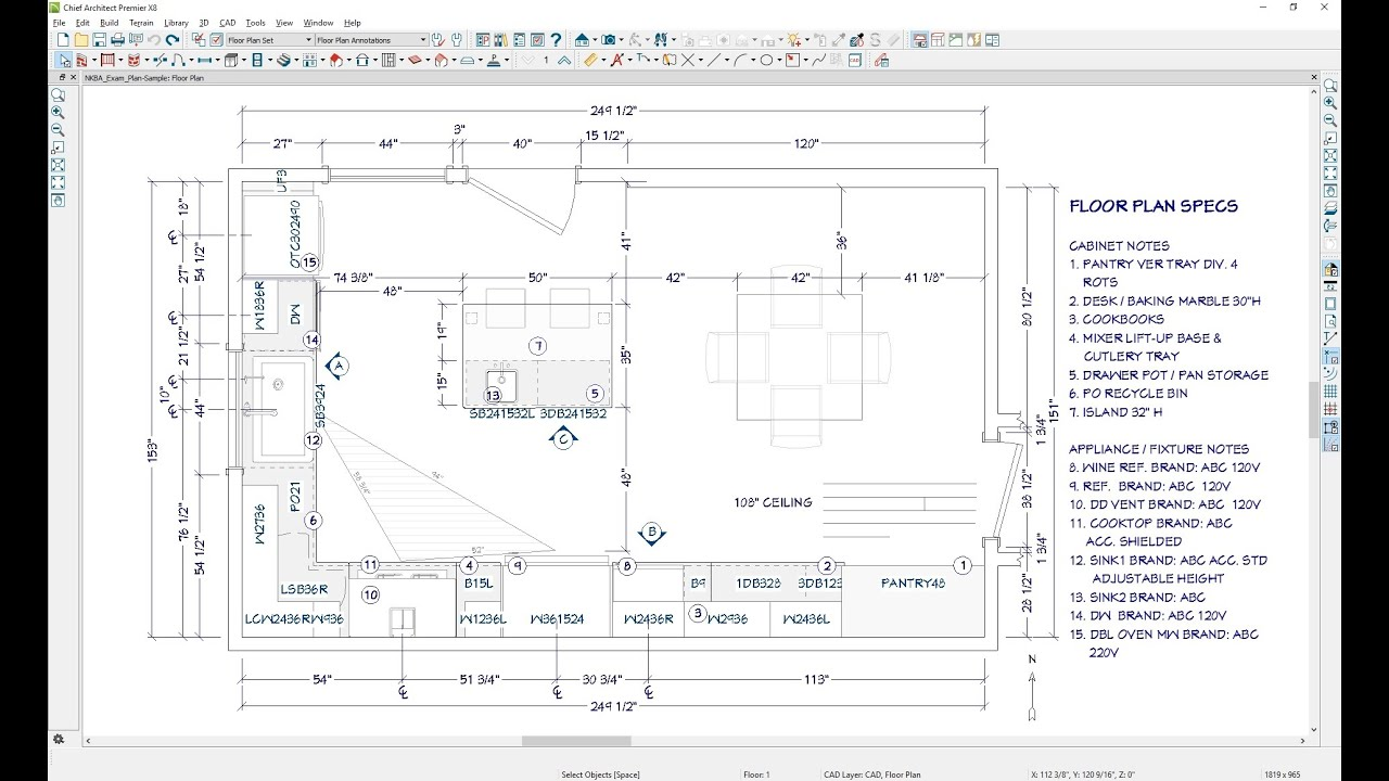 Creating Floorplan Dimensions And Annotation For The Nkba Ckbd Exam Youtube