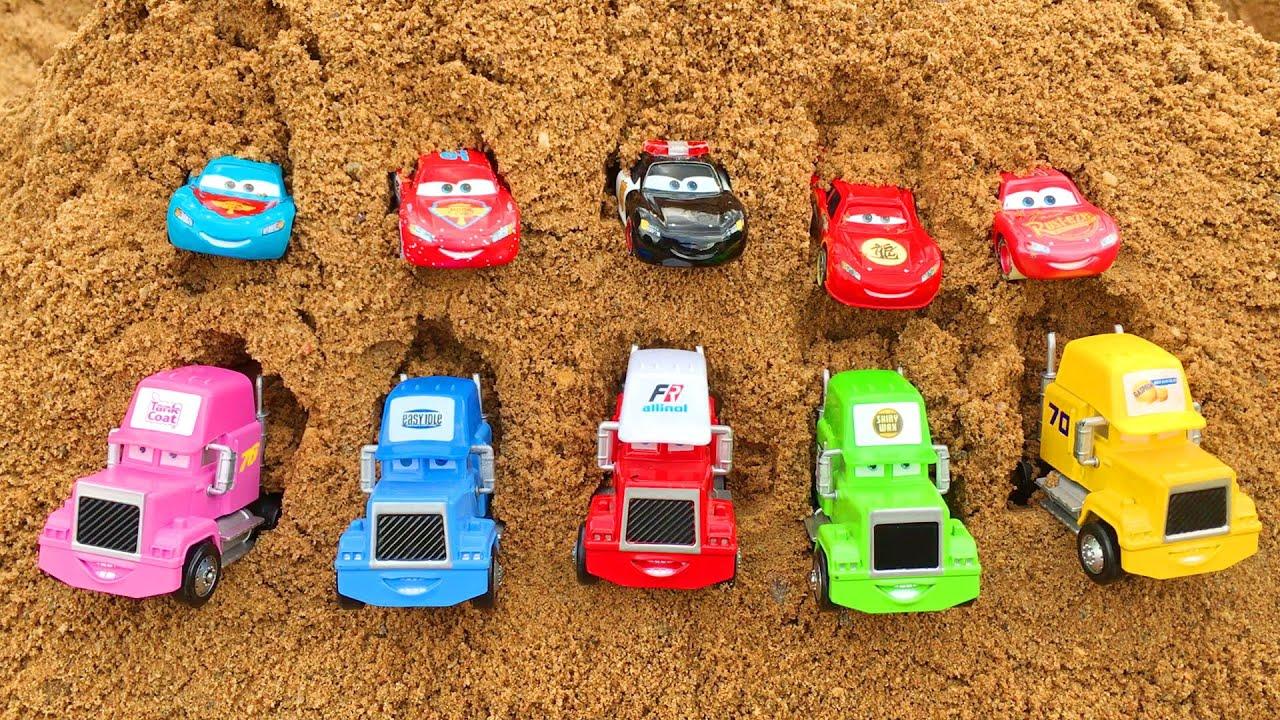Disney Cars Toys Lightning McQueen & Mack Trucks to Sandbox