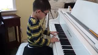 Parker Wolf (age 5) - Faber Piano Adventures 2A, Home on the Range