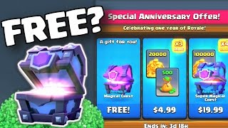 FREE SUPER MAGICAL CHEST (UPDATE GEMMING SPREE) Clash Royale BUYING ALL SPECIAL ANNIVERSARY CHESTS