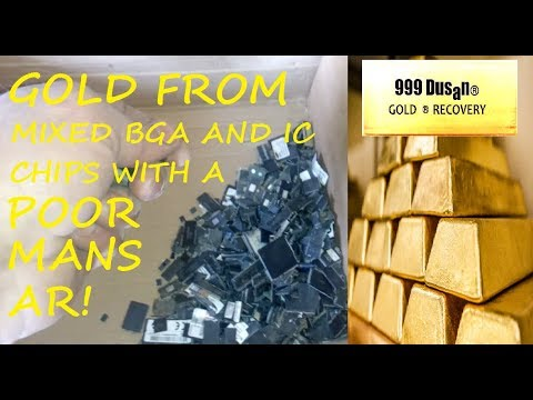 GOLD FROM MIXED BGA AND IC CHIPS WITH POORMANS AQWAREGIA!