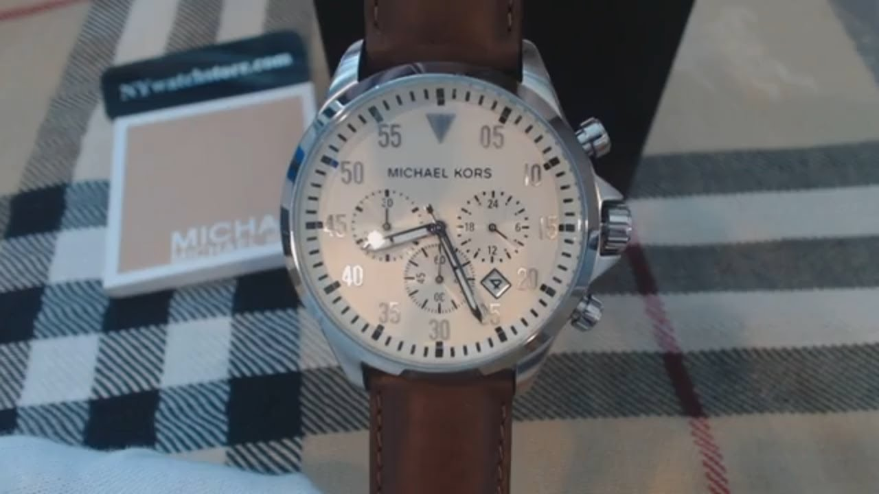 24beffd0398c Men s Michael Kors Gage Brown Leather Chronograph Watch MK8441 - YouTube