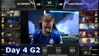 G2 vs FW | Day 4 Group Stage S8 LoL Worlds 2018 | G2 eSports vs Flash Wolves