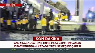 Ankara-Konya hızlı treni kaza yaptı. İşte ilk görüntüler