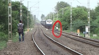 STUPID ACT in front of Running Train : MAD STUNT : UDYAN EXPRESS : INDIAN RAILWAYS