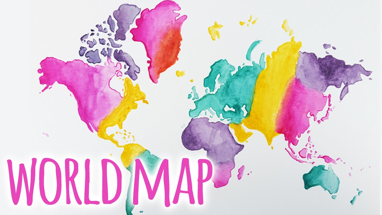 Watercolour WORLD MAP Painting Tutorial YouTube - United states watercolor map