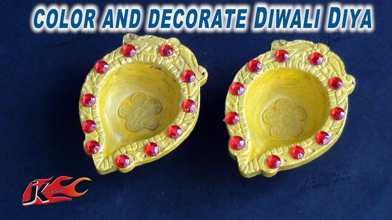 Diy how to decorate diwali diya easy diwali home for Diya decoration youtube