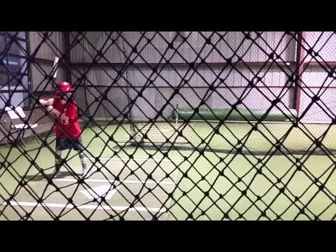 William Hopper at Barons batting cage