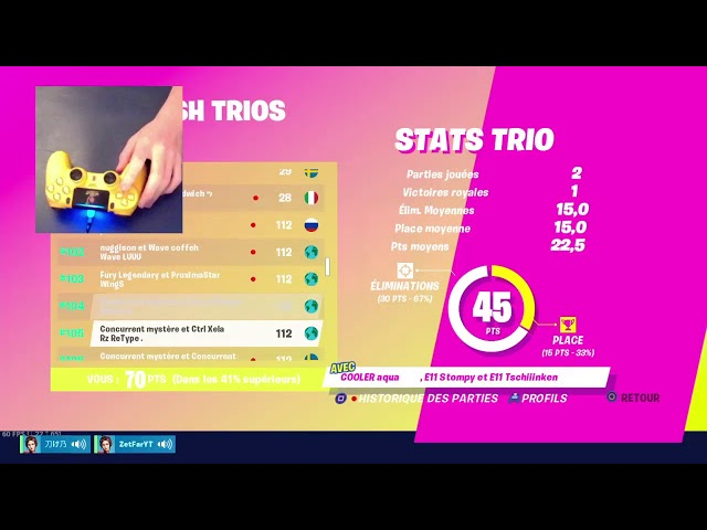 [HANDCAM] TOURNOI TRIO CHAMPION (MANETTE PS4) | CODE ZETFAR