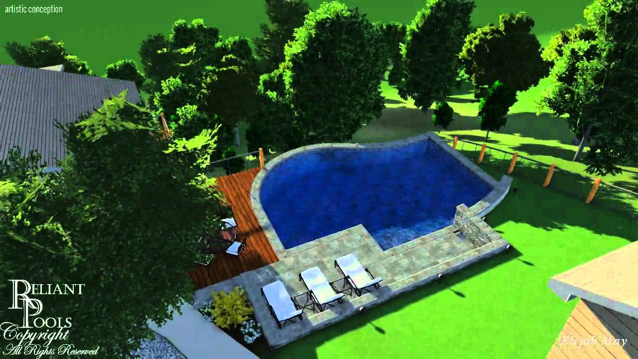 West Lake Hills Swimming Pool On Severely Sloped Yard