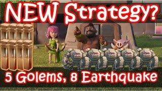 Clash of Clans | SICK Th9 Attack - Mass Golem, 8 Earthquake vs Maxed Defenses Th9