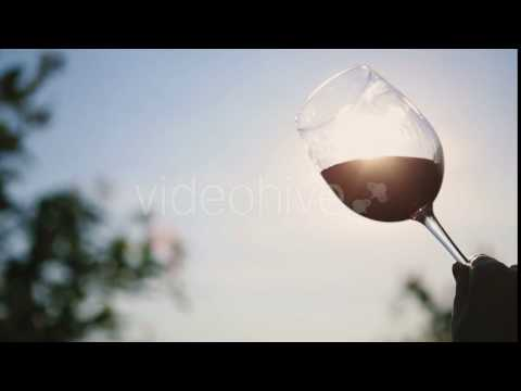 Hand Shakes Red Wine In a Transparent Wine Glass On Background Sun. - Stock | VideoHive 15509200