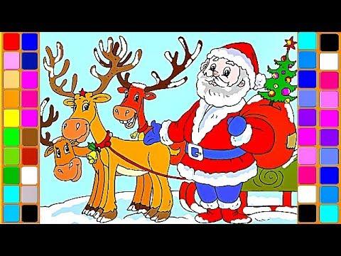 santas reindeers christmas magic coloring videos