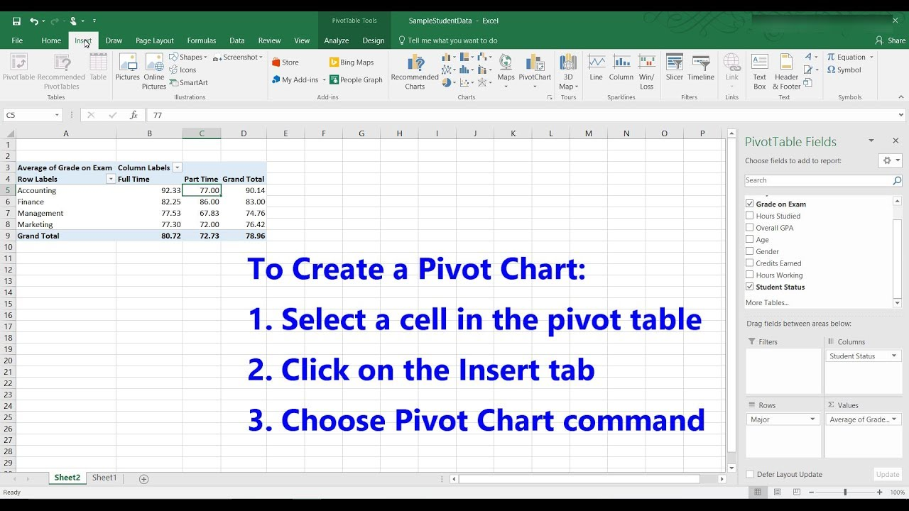 How to create pivot charts in excel 2016 youtube how to create pivot charts in excel 2016 ccuart Choice Image