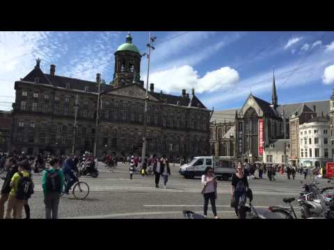 Dam Square and Royal Palace Amsterdam timelapse