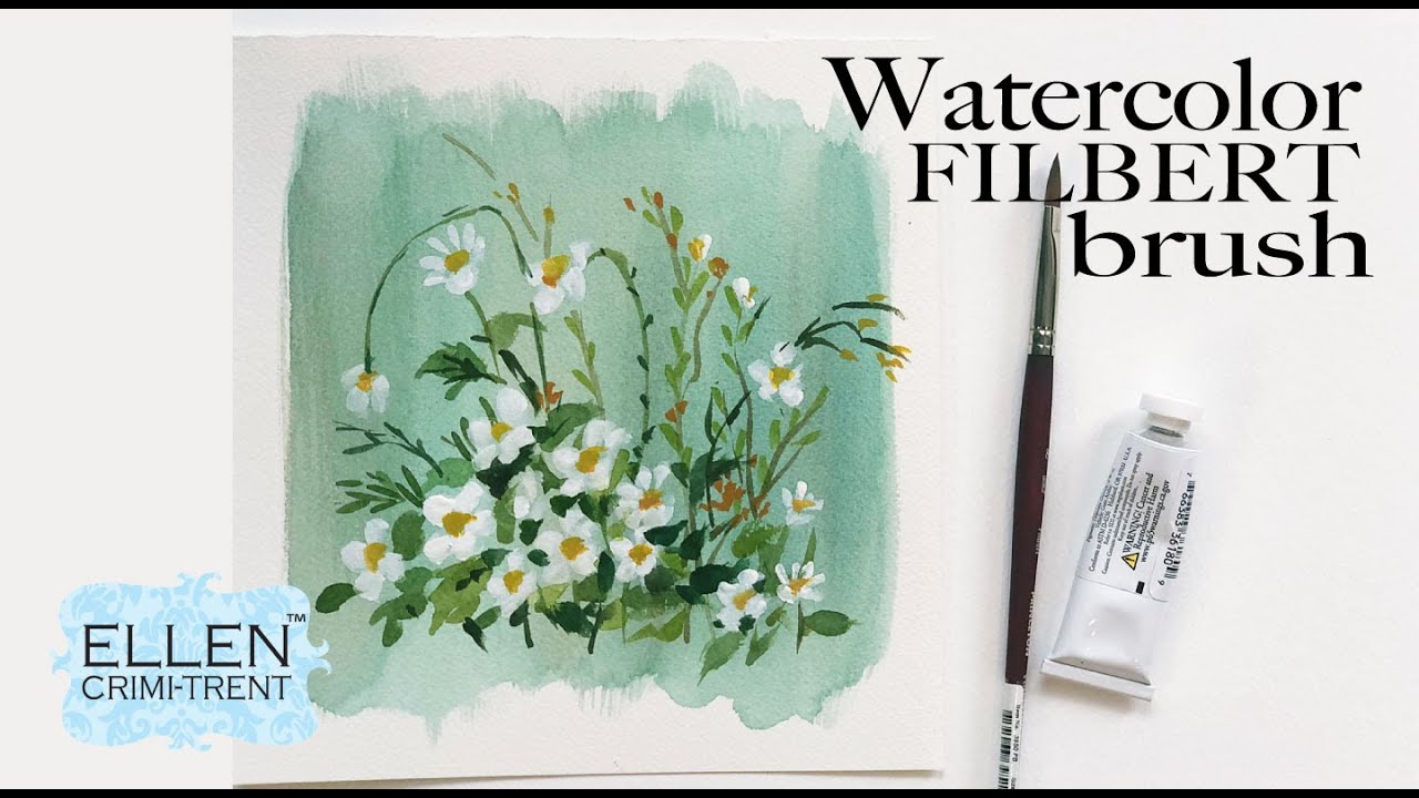 Watercolor Daisies using a Filbert Brush