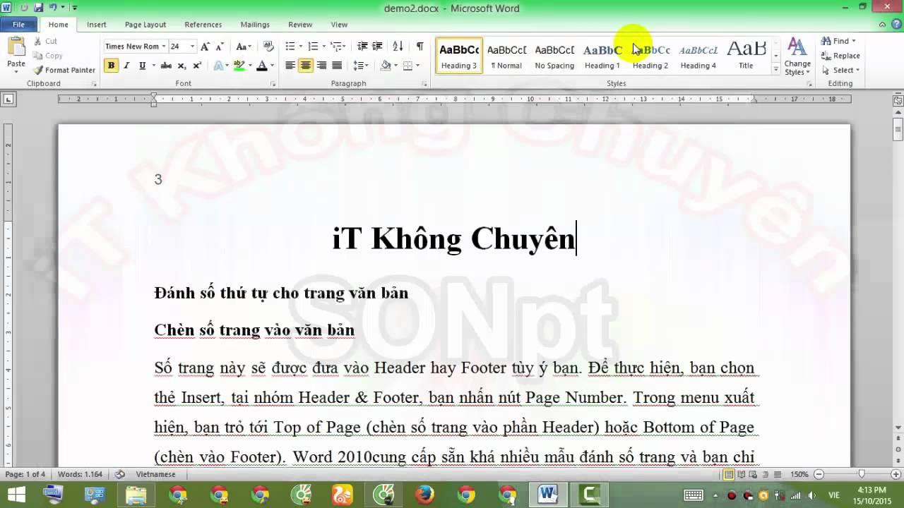 Đánh số trang cho văn bản Word, Giáo trình Microsoft Office Word 2010   [iT Không Chuyên]