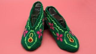 Тапочки крючком. Отделка изделий. Вязание тунисским крючком. (crochet slippers)