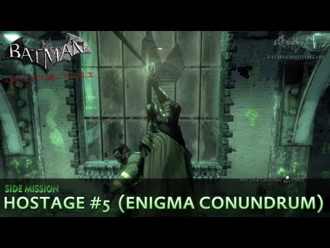 Batman: Arkham City - Riddler Hostage #5 - Enigma Conundrum Side Mission Walkthrough