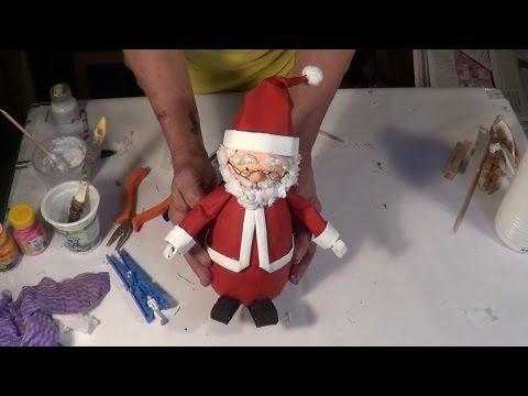 DIY - Como fazer um Papai Noel com material reciclado