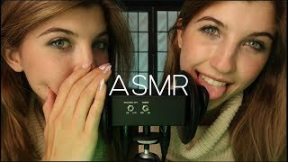 ✨WOMBO COMBO✨ Twin Ear Eating & Unintelligible Whispers ASMR (Up-Close)